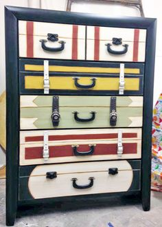 Susan Davis of Meme's Bo     Suitcase dresser, restyle this chest of drawers with General Finishes Black Pepper and Bayberry Green Chalk Style Paints as well as Sunglow and Snow White Milk Paints. It was aslo accented with GF Van Dyke Brown Glaze Effects. So creative!