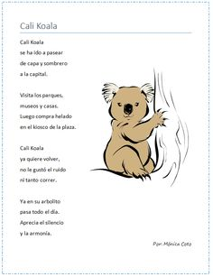 Poema Infantil. Puede usarse para enseñar la semejanza entre el sonido fuerte de la C y el sonido de la K y de la Q. Bilingual Education.