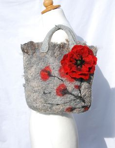 Felted bag felt bag felted wool purse   nuno felt red by AnnaWegg