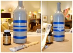 Gluing the bottle to add the gold leaf