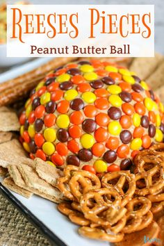 Reese's Pieces Peanut Butter Ball #dessert #peanutbutter #reesespieces #chocolate #sweets #getinmybelly