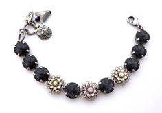 Swarovski 12mm crystal bracelet GRAPHITE LUXE by SiggyJewelry