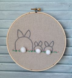 """Family Tree Embroidery Hoop Art, Bunny Love, Embroidery Hoop, Made To Order, OOAK, Created For Your Family, 6"""" Embroidery Hoop, Home Decor"""