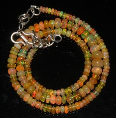 "44 Crts 1 Necklace 3to7mm 16"" Beads Natural Ethiopian Welo Fire  Opal  64910"