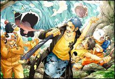 Bepo, Penguin, Shachi, Nico Robin, Nami, Chopper, Luffy & Trafalgar Law, Heart Pirates