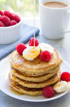This Healthy Pancake Recipe is the best! These fluffy whole wheat pancakes are q… This Healthy Pancake Recipe is the best! These fluffy whole wheat pancakes are quick and easy to make, with applesauce and less butter and sugar. Healthy Foods To Eat, Us Foods, Healthy Snacks, Pancake Healthy, Healthy Eating, Healthy Recipes, Breakfast For Kids, Breakfast Recipes, Pancake Recipes