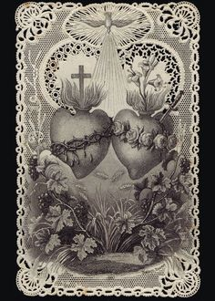 The Sacred Heart of Jesus and the Sorrowful and Immaculate Heart of Mary- tattoo inspo Religious Pictures, Religious Icons, Religious Art, Catholic Prayers, Catholic Art, Roman Catholic, Coeur Tattoo, Sacred Heart Tattoos, Jesus E Maria