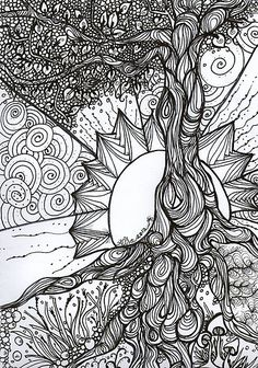 Tree of Life Zentangle by MysticDragonfly... colouring page