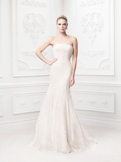 Truly Zac Posen Strapless Soft Chantilly Gown with Embroidery Style ZP345017 #davidsbridal #weddingdress