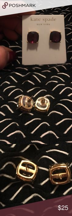 Authentic Kate Spade Earrings! Worn once to a wedding. Excellent condition. Comes with original small Kate Spade Dust Bag. Purchased from Nordstrom's. Not sure name of stone but color is a Maroon/Deep Pinkish with Gold. Kate Spade  Jewelry Earrings