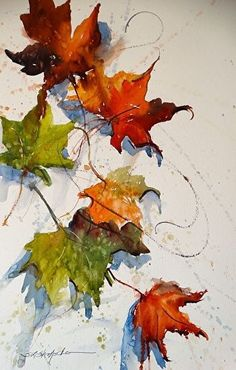 """Falling"" by Sandy Strohschein Watercolor ~ 16 x 12 (leaf art watercolor) Watercolor Leaves, Watercolor Artists, Watercolor Landscape, Watercolor And Ink, Watercolour Painting, Painting & Drawing, Watercolors, Watercolor Portraits, Pintura Graffiti"