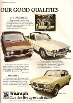 1974 Triumph Dolomite, Stag and Retro Cars, Vintage Cars, Antique Cars, British Car, British Sports Cars, Triumph Motor, Jaguar Land Rover, Classy Cars, Truck Design