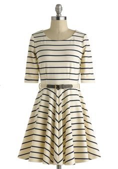 Harbor Day Dress - Stripes, Belted, Short, Cream, Casual, A-line, 3/4 Sleeve, Scoop, Black, Nautical, Daytime Party