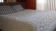 Manta de tricô para cama Queen