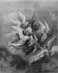 """The Divine Comedy: Illustrations by Gustave Doré Purgatorio, Canto 30: Beatrice among the angels Although the veil, that from her head descended, Encircled with the foliage of Minerva, Did not permit her to appear distinctly,  In attitude still royally majestic Continued she, like unto one who speaks, And keeps his warmest utterance in reserve:  """"Look at me well; in sooth I'm Beatrice! How didst thou deign to come unto the Mountain? Didst thou not know that man is happy here?"""""""