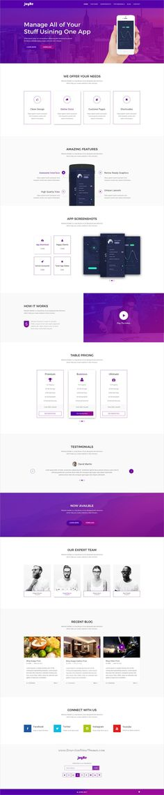 JoyRe is clean and modern design #PSD template for creative #app landing page website download now..