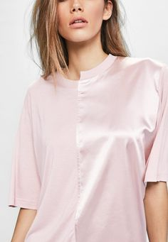 Missguided - Londunn   Missguided Pink Spliced Satin Jersey T-shirt Dress