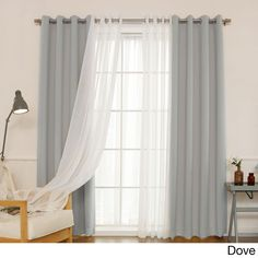 Aurora Home Mix & Match Blackout with Muji Sheer 4-piece Grommet Curtain Set