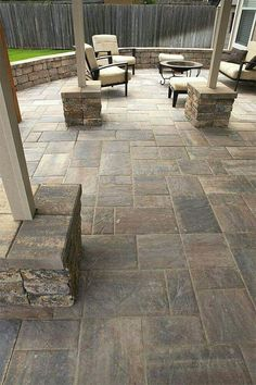 Have You Ever Heard, What Is A Patio? The word patio comes from Spanish, which can be translated freely as a backyard. In our country, the terrace can be identified with a terrace. The terrace in a… Patio Decor, Stone Patio Designs, Backyard Design, Paver Designs, Outdoor Patio Decor, Patio Flooring, Patio Tiles, Stone Tile Flooring