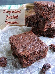 3 Ingredient Zucchini Brownies- these incredibly moist brownies are so easy to make, plus bonus hidden veggies!