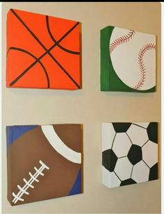 CLEARANCE Original Art Acrylic Painting on Canvas Grouping 6 x 6 Sports Themed Baseball Football Basketball Soccer Ball Easy Canvas Painting, Diy Canvas, Easy Paintings, Painting For Kids, Art For Kids, Canvas Paintings, Wood Canvas, Acrylic Canvas, Nursery Themes