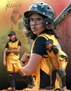 Girls Youth Softball Poster / Softball Photography Ideas / Sports Poster
