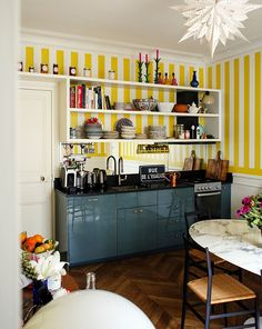 i do love a stripe — Jenny Andrews Anderson Holi, Gio Ponti, Parisian Chic Decor, Maison Rabih Kayrouz, Mid Century Credenza, Chevron Floor, Natural Kitchen, Striped Walls, How To Make Curtains