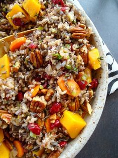 Wild Rice Pilaf with Squash, Cranberries and Pecans - Delicious, hearty, and healthy!