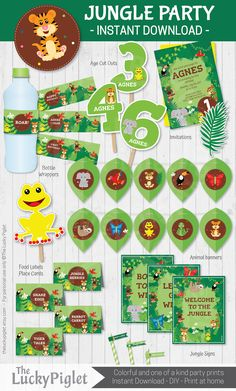 Jungle Party printables for your next jungle party. Jungle birthday invitation and jungle party decoration. Jungle birthday party package | Instant download. Edit text in Adobe Reader by TheLuckyPiglet on Etsy
