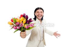 Man with tulip flowers — Stock Image #83042726