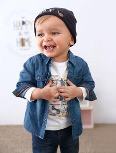 Camisa em cambraia, para bebé menino