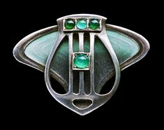 This is not contemporary - image from a gallery of vintage and/or antique objects. JUGENDSTIL Brooch Silver Enamel Chalcedony
