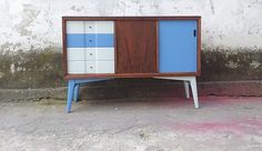 Small Upcycled SIDEBOARD / Cabinet * Teak * Vintage * Painted * Retro * SEMI MATTE PAINT