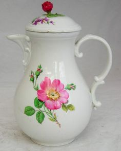 C19th Meissen Hand Painted Coffee Pot and Cover Decorated with Flowers