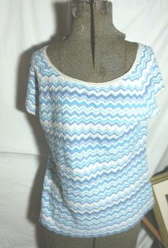 """Sigrid Olsen"" CHEVRON, Sweater, Blue/Khaki/White-PL-Rounded Neck-Cotton Blend #SigridOlsen #Roundedneck"