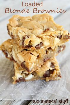 Loaded Blonde Brownies on SixSistersStuff.com - I'll make them with dark chocolate chips, coconut and almonds.