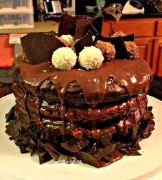 Heavenly Chocolate Cake, and mark my words, this is pure heavenly! There's 3 layers to this cake, and the middle layer is something you need to come take a look at, I AM SURE you will be astounded!!! This is PURE HEAVEN and what a jaw dropper! #cake #chocolate #celebration