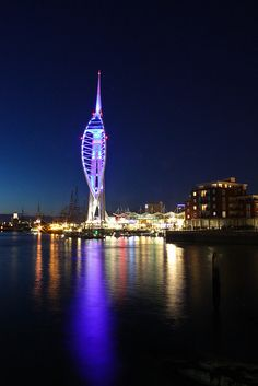In this photo the rule of thirds is followed. The Spinnaker Tower is lined up with the first vertical line. The second goes through the beginning of the building. The first horizontal line runs through where the main bit of the tower ends and the second lines up with the line of reflection between the land and sea.