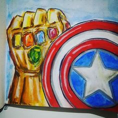 Discover recipes, home ideas, style inspiration and other ideas to try. Captain America Painting, Captain America Art, Kids Canvas Art, Simple Canvas Paintings, Avengers Fan Art, Marvel Art, Easy Drawings Sketches, Art Drawings, Marvel Canvas