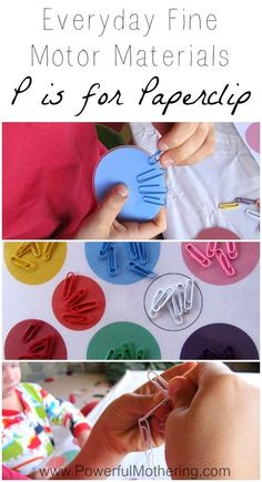 Use this Paperclip activity to encourage fine motor skills in your toddler and preschooler with free printable from PowerfulMothering... (makes a great busy bag!) LOVE this post and all these ideas.