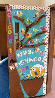 Boho birds preschool door