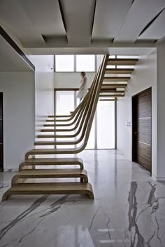 Mumbai House Waves Of Wood Form Staircase At SDM Apartment By Arquitectura  En Movimiento Workshop Pictures