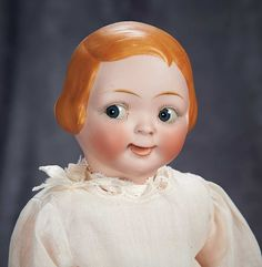 """""""Among Friends, The Billie and Paige Welker Collection"""": Lot # 109: Rare German Bisque Double-Faced Doll by Hertel and Schwab with Googly Face"""