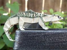 CHAMELEON Money Origami  Dollar Bill Art  by VincentOrigamiArtist