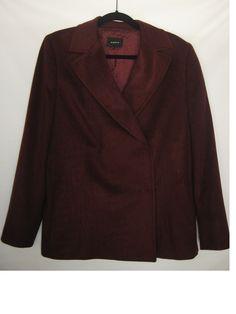 AKRIS Womens Cashmere Jacket Blazer Coat Size 12 Burgundy High End Designer  $80 at New and DejaVU Bonanza store