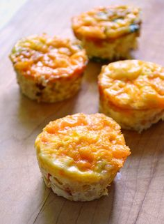 """Brown Rice, Corn, Spinach & Tomato Frittata """"Muffins"""" - Add a half slice of crisp bacon stuck in the top & WOW!"""