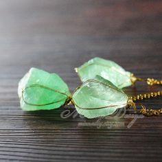 Unique Raw Fluorite Crystal Necklace, Green Fluorite Quartz Necklace, Rough Natural Gemstone Jewelry, Raw Crystal Necklace, Unique Gift