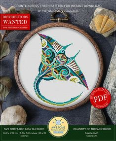 This is modern cross-stitch pattern of Mandala Cramp-Fish for instant download. You will get 7-pages PDF file, which includes: - main picture for your reference; - colorful scheme for cross-stitch; - list of DMC thread colors (instruction and key section); - list of calculated