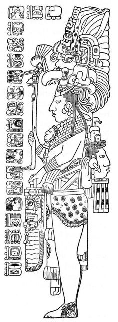Maya (drawing of the Tzendale's Stela published by Herbert Spinden in 1913, based on Tozzer's original field sketches)