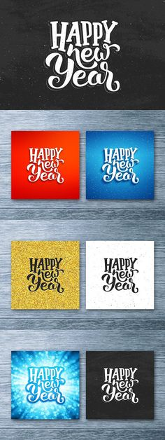 Happy New Year card with lettering. Script Fonts